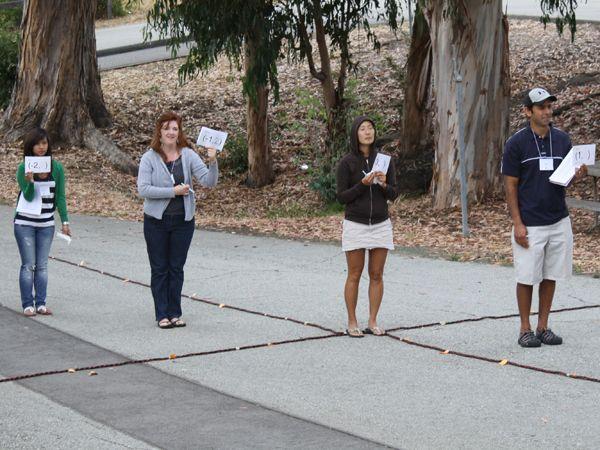"""FAME 2010 Teachers outside doing an """"Algebra Walk"""""""