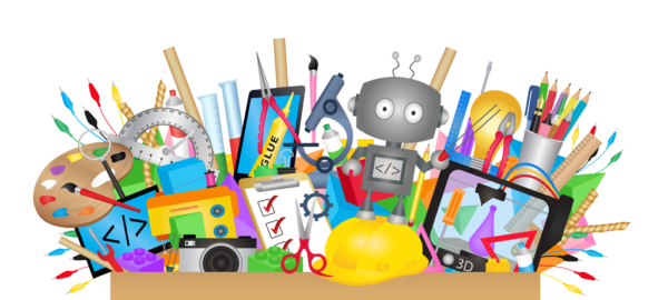 fun illustration - box overflowing with maker items